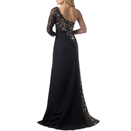 Scecent Women's Sexy One Shoulder Side Slit Lace Maxi Prom Evening Dress