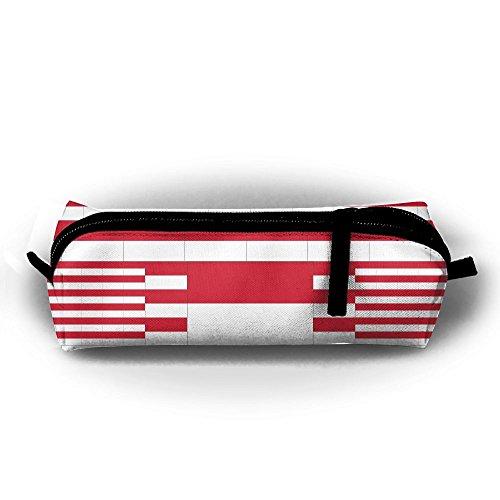 Indonesia Flag Pencil Case Holder Zipper Pencil Bag Coin Purse Pouch 8.2 X 2.2 X2