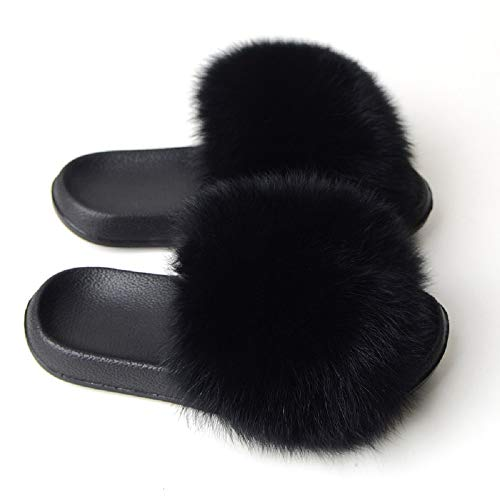 Women's Fur Slide Slipper Sandal with Soft Furry Faux Fox Fur Lovely House Outdoor Slippers for Ladies Multicolor