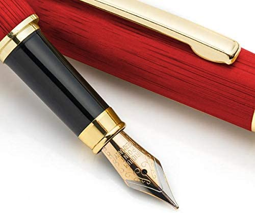 Dryden Designs Luxury Rosewood Fountain Pen with Ink Refill Converter and Gift Case - Smooth & Elegant