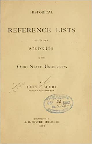 Historical Reference Lists For The Use Of Students In The