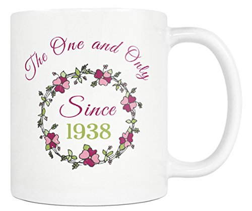 80th Birthday Gift For Women The One And Only Since 1938 Flower Coffee Mug 11oz Tea Cup Great Mom Sister Grandma