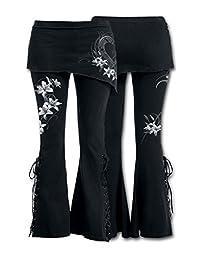 Women Lace Up Wrapped Pants Boot Cut Floral Joggers Leggings Dress Pants