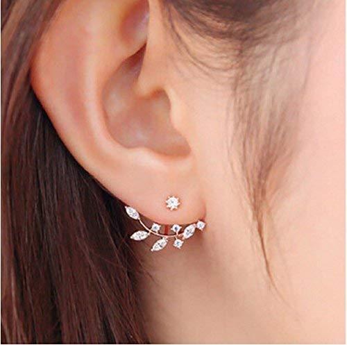 VANVENE Womens Fashion Gold Plated Leaf Crystal Ear Jacket Double Sided Swing Stud Earrings Gift Back Cuff Stud Earring (Rose Gold)