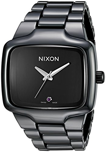 (Nixon Men's A145-001 Ceramic Player Analog Swiss Quartz Black Dial Watch)