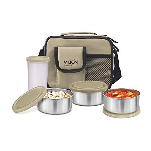 Milton Steel Combi Lunch Box with Tumbler, 4-Pieces, Beige