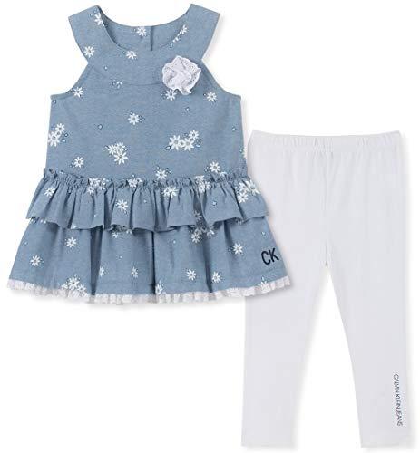 Calvin Klein Baby Girls 2 Pieces Legging Set Pants, Blue/White, 3-6 -