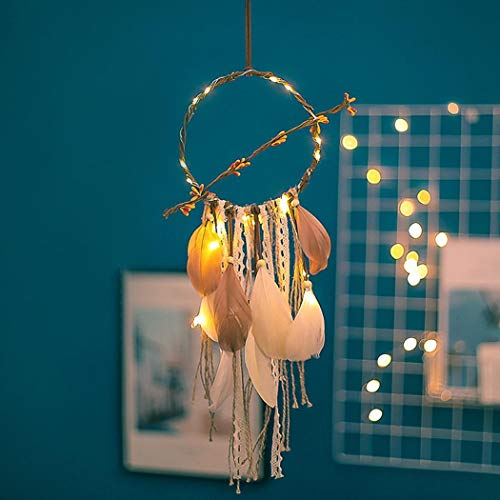 Ornament Fantasy - Caiuet Light Up Dream Catchers for Bedroom Wall Hanging Decorations, LED Dreamcatcher Home Ornaments with LED Lights,Fantasy Gifts for Kids, Caught Your Dream