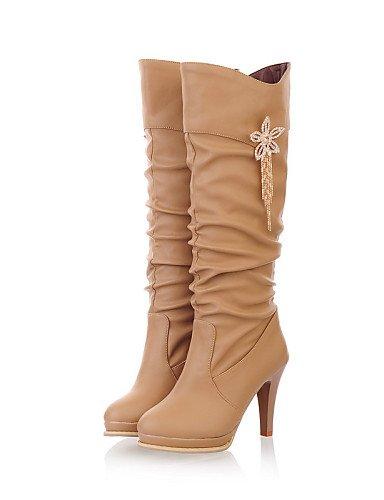 XZZ  Damenschuhe - Stiefel - Kleid   Lässig - Kunstleder - Stöckelabsatz - Wedges   Rundeschuh   Modische Stiefel - Schwarz   Weiß   Beige