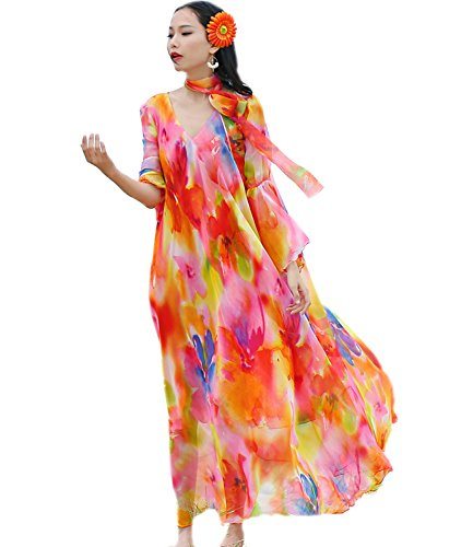 (Medeshe Women Chiffon Floral Print V Neck Flowy Pleated Maxi Dress Holiday Beach Wedding Guest Sundress (X-Large))