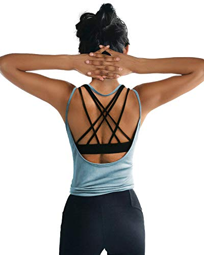 OYANUS Womens Summer Workout Tops Sexy Backless Yoga Shirts Loose Open Back Running Sports Tank Tops Cute Muscle Tank Sleeveless Gym Fitness Quick Dry Activewear Clothes for Juniors LightBlue S ()