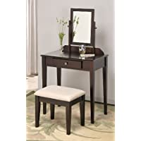 Contemporary Vanity Set with Adjustable Mirror and Stool Espresso Finish