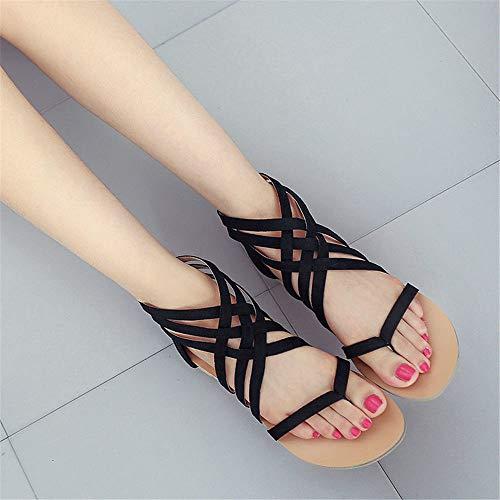 cinghie nero romani sandali CN35 piatta punta femminili America 5 UK3 indietro clip EU36 ShangYiEuropa e cerniera incrociate X7wPaq