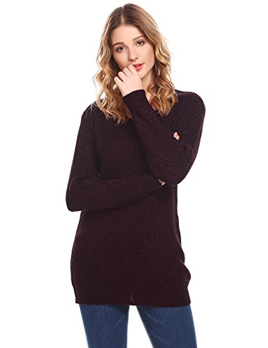 Zeela Damen Strickpullover Wollpullover Sweater Herbst Winter Pullover Strickpulli Weinrot EP5caV