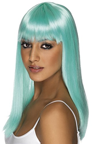 [Smiffy's Women's Glamourama Wig Neon Long Straight with Fringe, Aqua, One Size] (Neon Green Wigs)