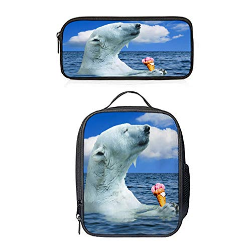 SARA NELL Unique Stylish Polar Bears Love Ice Cream insulated Lunch Bag Luch Backpack Lunch Tote Cross-body Bag Pen Case Gift 2pcs(Lunch Bag+Pen Bag)
