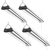 Sunco Lighting 4 Pack LED Industrial Utility Shop Light, 4 FT, 40W=300W, 5000K Daylight, Frosted T8 LED Tubes, Linkable Integrated LED Pendant Fixture, Mounting Equipment Included - Energy Star
