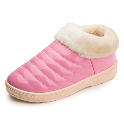 Eagsouni Unisex Winter Slippers Warm Thermal Boots Ankle Bootie Hight-Top Snow Shoes Pink Vt1GzLyT
