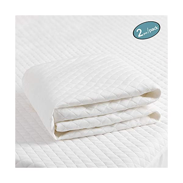 MoMA Waterproof Crib Mattress Cover (Set of 2) – 52×28 Tencel White Crib Mattress Protector – Soft Fitted Baby Crib Mattress Pad with 9-inch Pocket – Tencel Fiber Toddler Mattress Pad