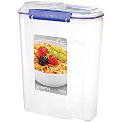 Sistema KLIP IT Utility Collection Cereal Container, 142.0 oz./4.2 L, Clear/Blue