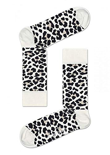 (Happy Socks Men's Leopard Socks (10-13, Black/Cream Leopard))