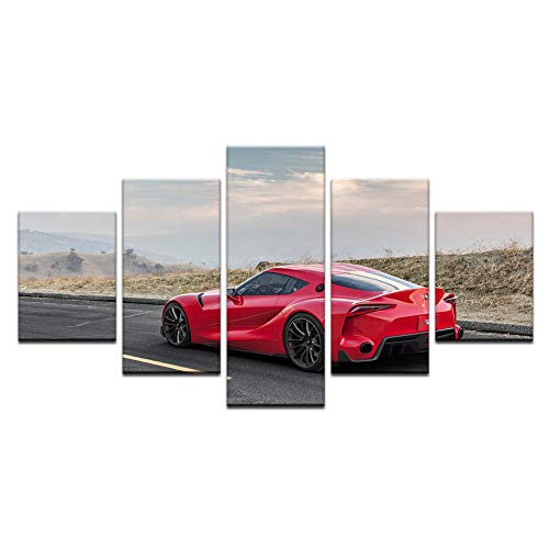 Fbhfbh Modern HD Printed Modular Pictures Frame Wall Art Poster 5 Panel Toyota FT1 Racing Car Canvas Painting Home Decor -16x24/32/40inch,Without Frame