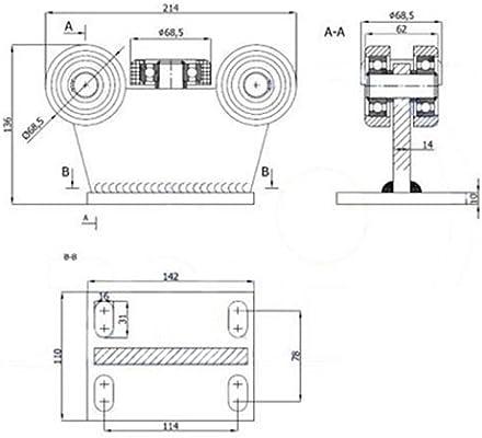 zabi puertas correderas (rollo carro con 5 ruedas metal, sin regulación de altura Perfil 80 x 80 grosor 5 mm: Amazon.es: Bricolaje y herramientas