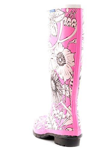 Luckers Womens Tall Winter Flowers Wellies Rain Boots Winter Pink dp51KQFAla