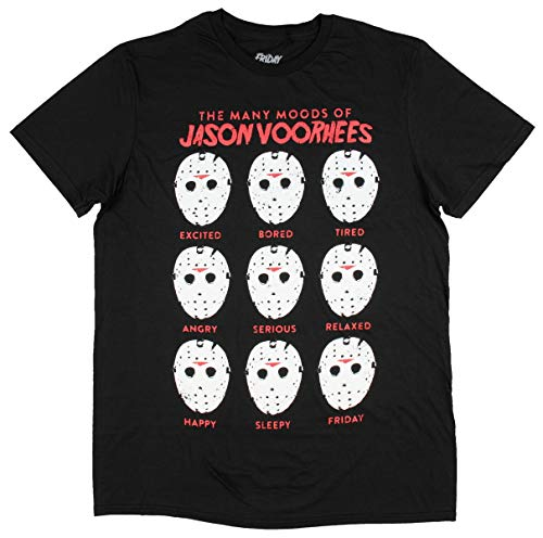 The Many Moods of Jason Voorhees Mask Shirt Distressed Officially Licensed Horror Film Movie T-Shirt (Large) Black ()