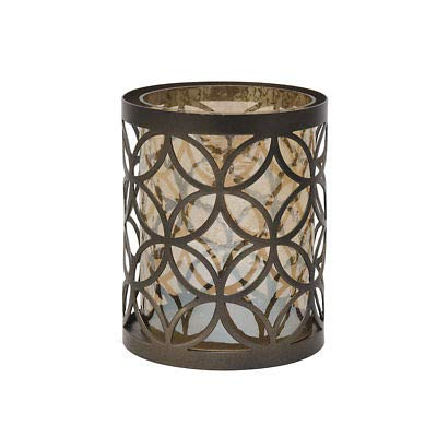 5x6 Inch Bronze Circle Pattern Metal And Glass Candle Holder ()