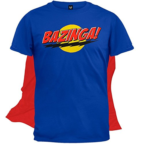 The Big Bang Theory Bazinga! Blue Adult T-shirt with Attachable Cape (Blue) (Adult Large) ()
