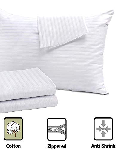 4 Pack Pillow Protectors Standard Allergy Control 20x26 Inches ❤ Life Time Replacement ❤ 100% Cotton Sateen High Thread Count 400 Style Zippered White Hotel Quality Covers Cases