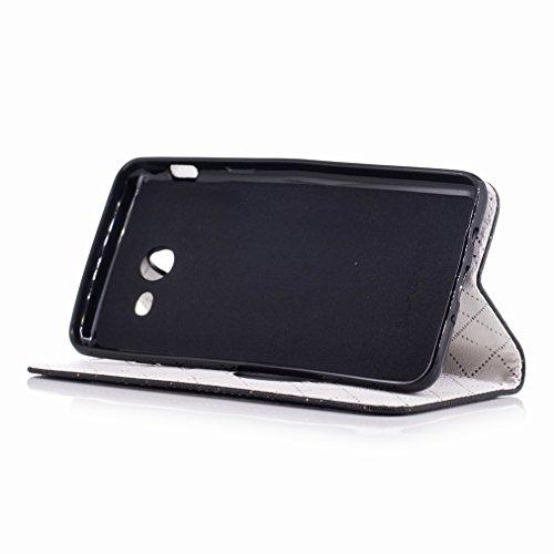 Yiizy Samsung Galaxy J5 (2017) Custodia Cover, Amare Design Sottile Flip Portafoglio PU Pelle Cuoio Copertura Shell Case Slot Schede Cavalletto Stile Libro Bumper Protettivo Borsa (Nero)