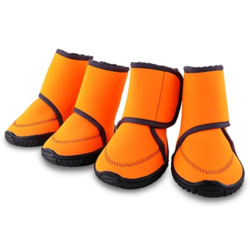 HAVEGET Waterproof dog shoes Fluorescent orange dog boots Velcro and Rugged Anti-Slip Sole Paw Protectors for All Weather Comfortable Easy to Wear Suitable for Medium Dog, Orange (Boots Dog Weather)