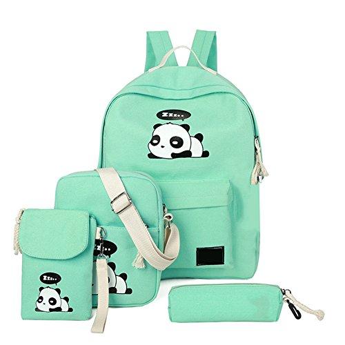 4Pcs Cute Panda Backpack Lightweight Casual Canvas School Backpacks for Teen Girls (Green)