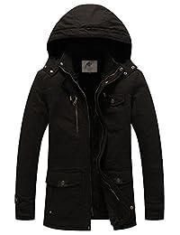 WenVen Men's Hooded Military Jacket Winter Fleece Parka Coat