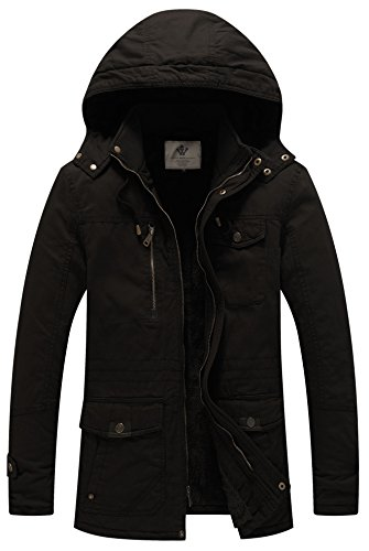 WenVen Men's Winter Thicken Cotton Parka Jacket with Removable Hood Black L (Winter Coat For Men On Sale)
