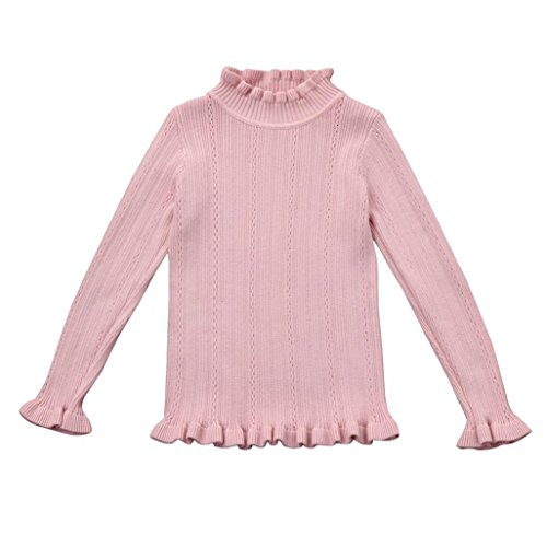 Fineser TM Baby Girls Knitted Turtle Neck Solid Sweater Pullovers Crochet Ruffle Blouse Tops Clothes (Pink, 3T) (Ruffle Neck Cardigan)