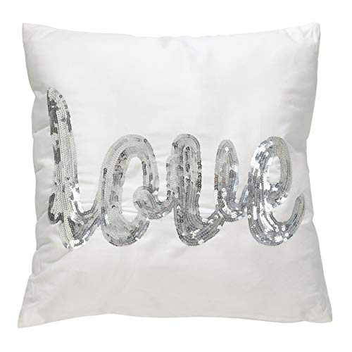 PH Love Quote Decorative Silver Sequin Word Throw Pillow Mermaid White Girl Bright Shiny Light Gray Dark Grey Metallic Letter Saying Textured Solid Kids Square Stripe Cream Abstract Accent Polyester