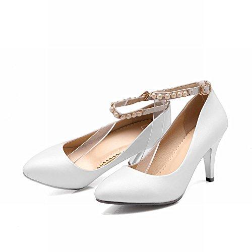 Latasa Mode Féminine Perlée-bride À La Cheville Bout Pointu Chaussures À Talons Hauts, Chaussures De Court Blanc