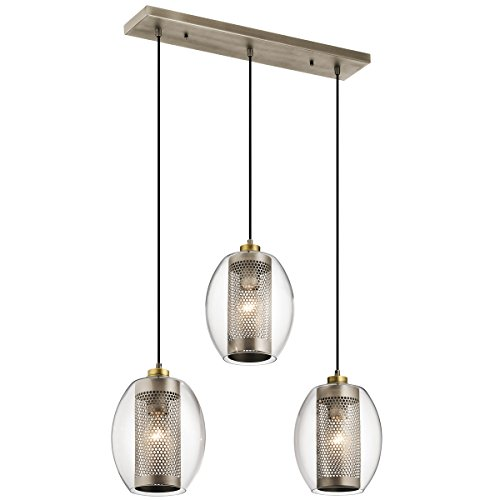 Chandeliers 3 Light with Antique Pewter Finish Steel Material Medium 9 inch 225 Watts