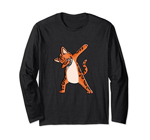Unisex Dabbing Bengal Cat Funny Long Sleeve Birthday Party Shirt XL: Black