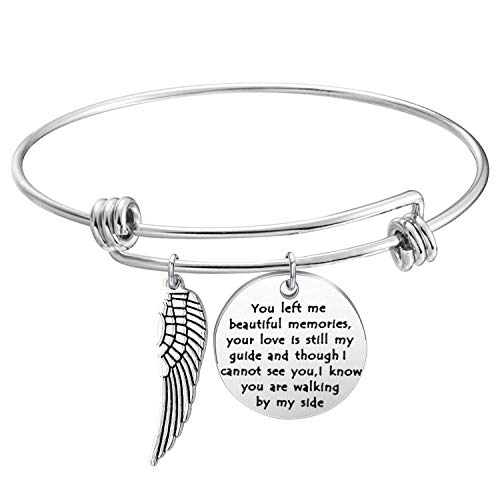 (KUIYAI Memory Bracelet with Guardian Angel Loss Jewelry Remember Loved One You Left Me Beautiful Memories Bracelet (Memory Bracelet)