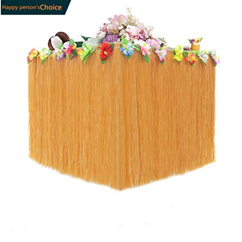 Hawaiian Luau Party Yellow Grass Table Skirt, for Home Decorat, Birthday Wedding decoration, Beach Party ,Tabletop Decoration, 30pcs Hibiscus flowers, Outdoor party decoration table -
