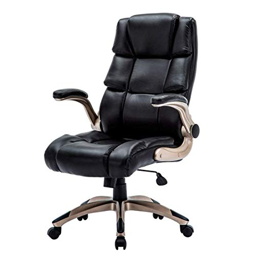 Leather Office Chair High Back - Flip-up Arm Designs of Tall Computer Desk Executive Chair with Padded Headrest and Lumbar Support Color Black