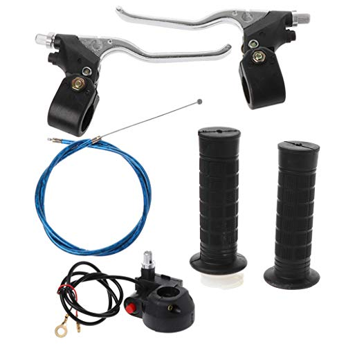 Yuuups One Set Hand Grips Kill Switch Twist Throttle Cable Brake Levers for 47cc 49cc Mini Pocket Bike