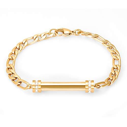Minicremation Cremation Bracelet for Ashes - Stainless Steel Memorial Keepsake Ashes Holder Locket Bangle Memorial Bracelet +Free Fill kit +Box (Gold)