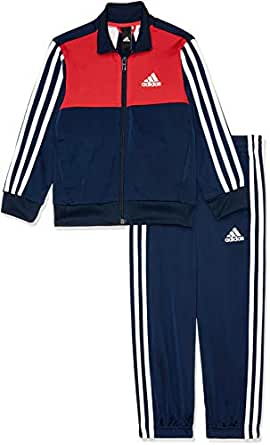 adidas Boys' Tibero Tracksuit Ch, Top:Collegiate Navy/Vivid Red/White Bottom:Collegiate Navy/White/Vivid Red(Blue), 110(4-5 Years)