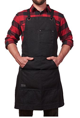 Bartender Range - Hudson Durable Goods - Heavy Duty Waxed Canvas Work Apron with Tool Pockets (Black), Cross-Back Straps & Adjustable M to XXL