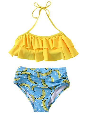 Girls Swimsuit Falbala High Waisted Bikini Set Halter Neck Swimwear Dots Printing Bathing Suits